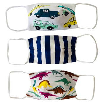 3 Pack Kids Cotton Face Masks  - Cars & Dinosaurs