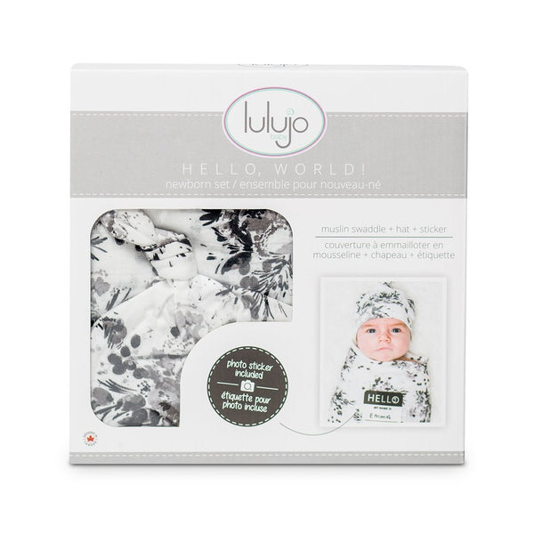 Hello World Hat & Swaddle Set – Black Floral