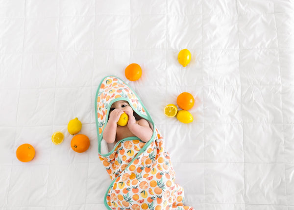 Knit Hooded Towel - Citrus