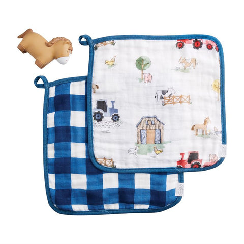 FARMHOUSE WASHCLOTH & TOY SET