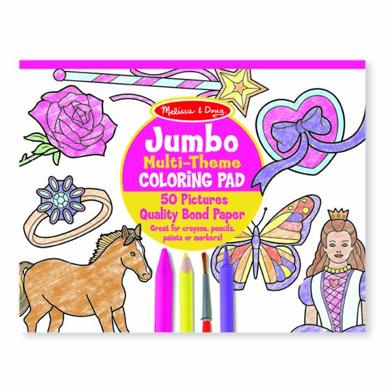 Jumbo Coloring Pad - Horses, Hearts, Flowers, and More