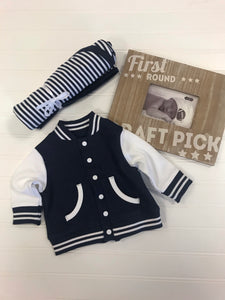 Little Man Varsity Jacket - Navy/White