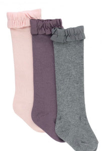 Knee High Socks- Ballet Pink, Shaddow Purple, Charcoal