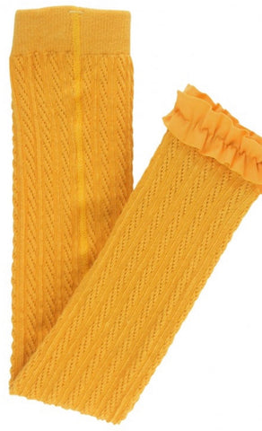 Golden Cable-Knit Footless Ruffle Tight