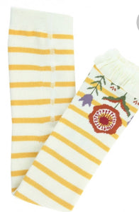 Golden Yellow & Ivory Stripe Floaral Footless Ruffle Tight