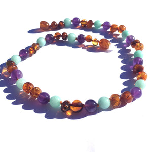 Amber Teething Necklace- Bluebell - Baltic Amber, Amazonite, & Amethyst