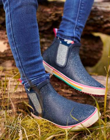 Navy Glitter Rainwell Booties