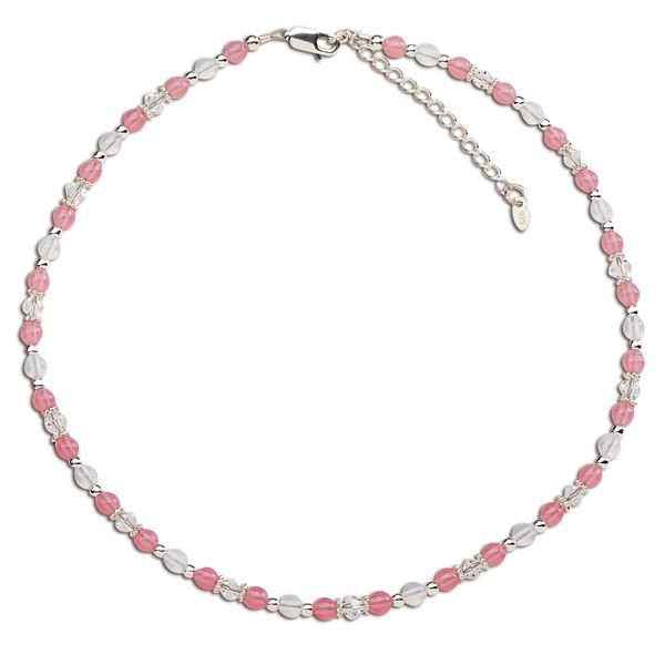Kara- Sterling Silver Pink & White Necklace