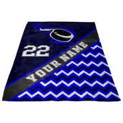 Personalized Blue Hockey Blanket| Unique hockey gift idea