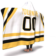 Pittsburgh Hockey Away Hooded Blanket| Unique hockey gift idea