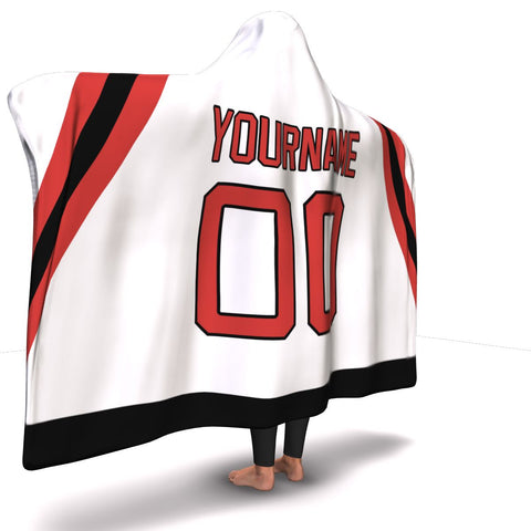 New Jersey Hockey Away Hooded Blanket| Unique hockey gift idea