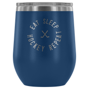 Eat Sleep Hockey Repeat Wine Tumbler| Unique hockey gift idea