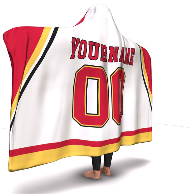 Calgary Hockey Away Hooded Blanket| Unique hockey gift idea