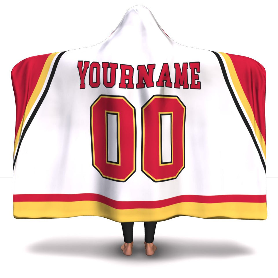 Calgary Hockey Away Hooded Blanket - HockeyAF