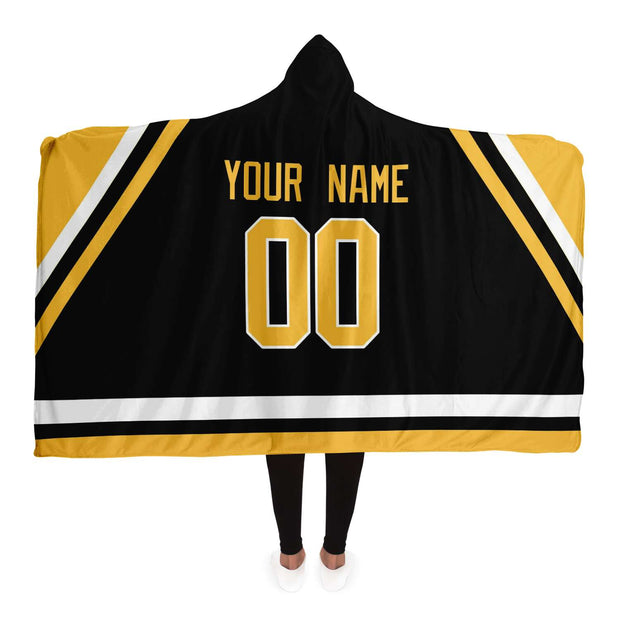 Pittsburgh Custom Hockey Hooded Blanket| Unique hockey gift idea