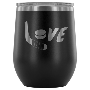 Love Hockey Wine Tumbler - HockeyAF