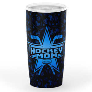 Blue Super Hockey Mom All Over Print Tumbler - HockeyAF
