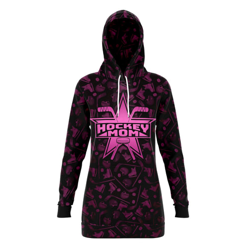 Dark Pink Super Hockey Mom All Over Print Long Hoodie - HockeyAF