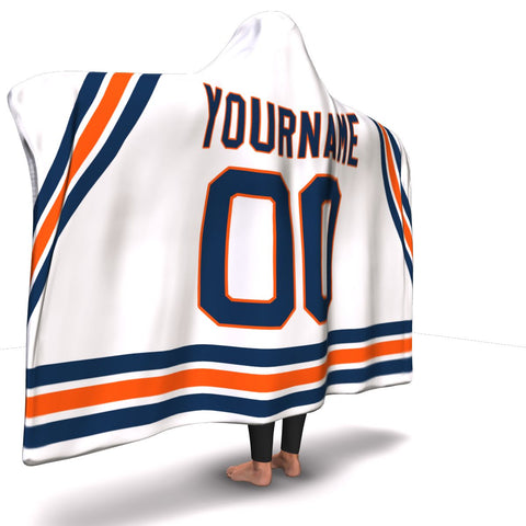 Edmonton Hockey Away Hooded Blanket| Unique hockey gift idea