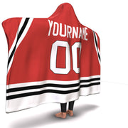 Chicago Hockey Hooded Blanket| Unique hockey gift idea