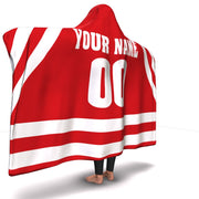 Wisconsin Hockey hooded Blanket| Unique hockey gift idea