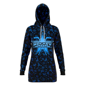 Dark Super Hockey Mom All Over Print Long Hoodie - HockeyAF
