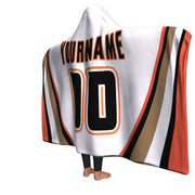 Anaheim Hockey Away Hooded Blanket| Unique hockey gift idea