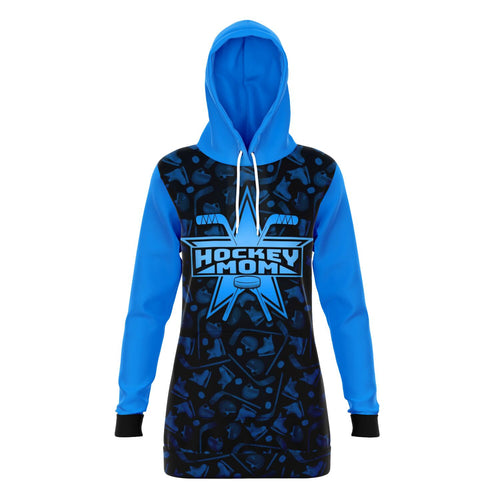 Blue Super Hockey Mom All Over Print Long Hoodie - HockeyAF