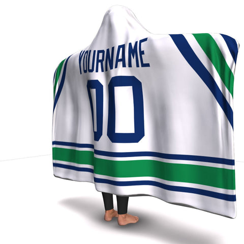 Vancouver Hockey Away Hooded Blanket| Unique hockey gift idea