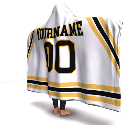 Boston Hockey Away Hooded Blanket| Unique hockey gift idea