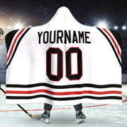 Chicago Hockey Away Hooded Blanket| Unique hockey gift idea