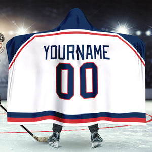 Columbus Hockey Away Hooded Blanket - HockeyAF