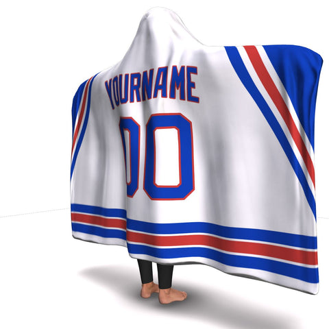 New York Hockey Away Hooded Blanket| Unique hockey gift idea