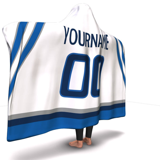 Winnipeg Hockey Away Hooded Blanket| Unique hockey gift idea