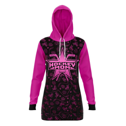 Pink Super Hockey Mom All Over Print Long Hoodie - HockeyAF
