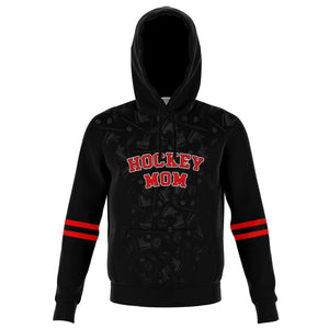 Hockey Mom Red on Black Personalized Hoodie - HockeyAF