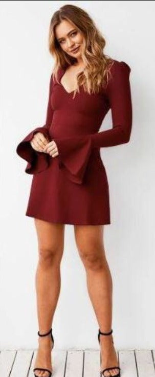 V NECK BELL SLEEVED FLARED SHORT DRESS (PRE ORDER)