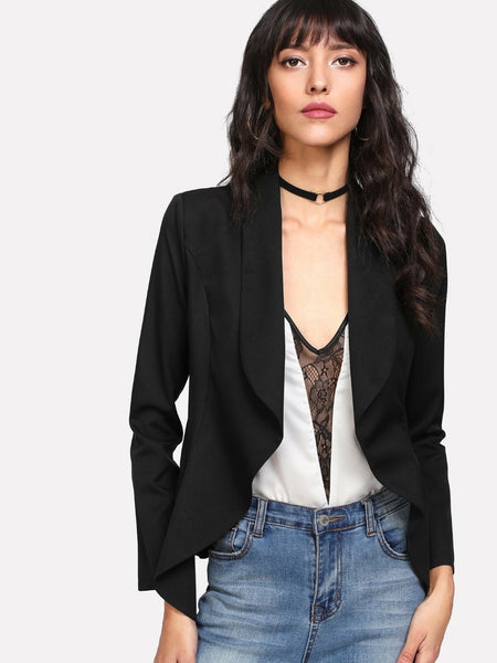 Shawl Collar Open Front Blazer~