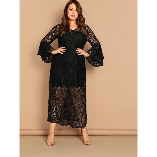 Plus Layered Flounce Sleeve Sheer Lace Nightdress