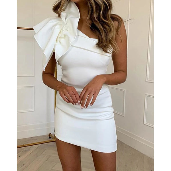 One Shoulder Bow Mini Dress (PRE ORDER)