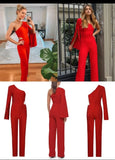 Bandage Red One Shoulder Jumpsuit~