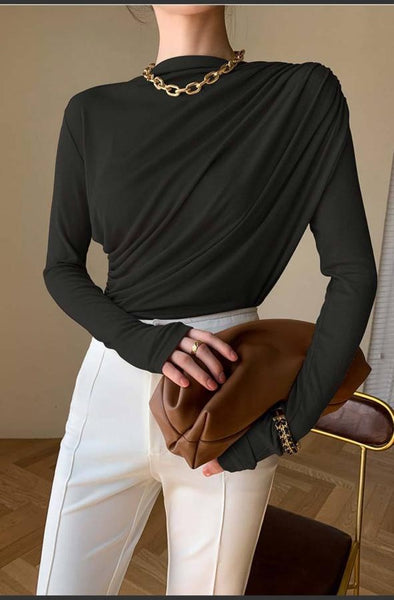 One Shoulder Pleated Top (PRE ORDER)