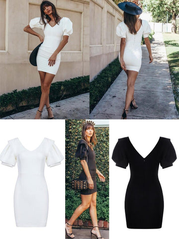 V-Neck Sleeve Puff Dress~