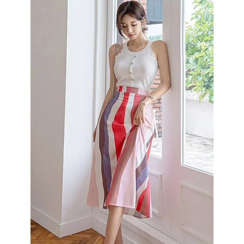Fashion Sleeveless Striped Crop Top And Skirt~