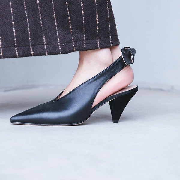Pointed Wine Glass Heel Genuine Leather Women's Shoes