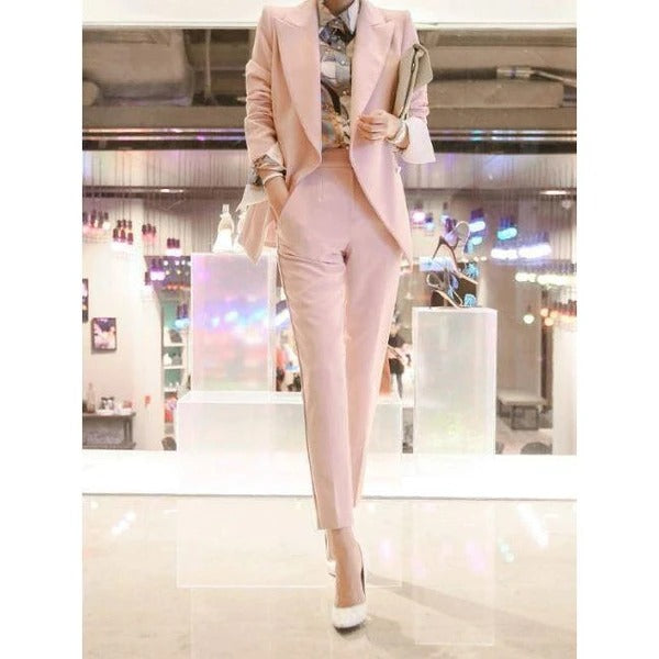 Korean Lapel Solid Fitted Pink Women Suits~