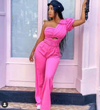 PINK ONE SHOULDER JUMPSUIT (PRE ORDER)