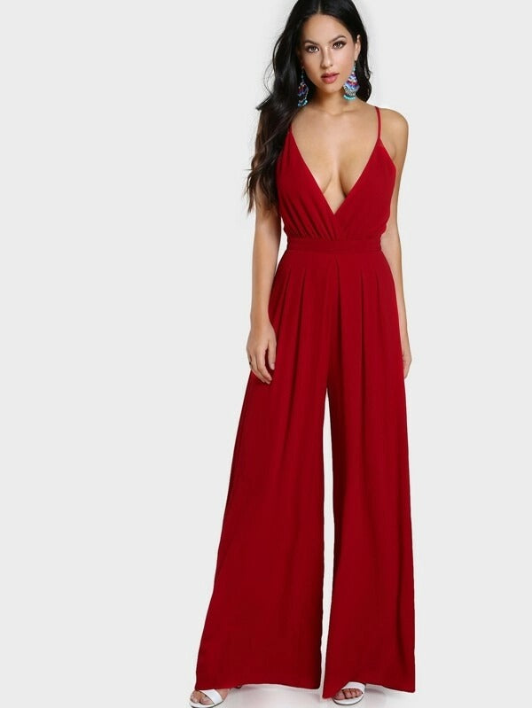 Surplice Front Box Pleated Culotte Leg Cami Jumpsuit~