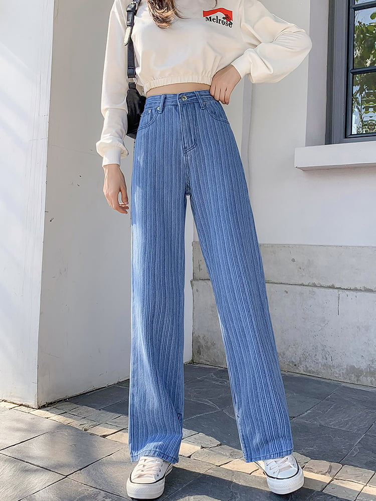WOMEN'S STYLISH STRIPED DENIMS BOTTOM WIDE PANTS  (PRE ORDER)