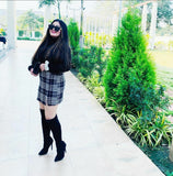 CHECKERED SKIRT WITH A SLIT